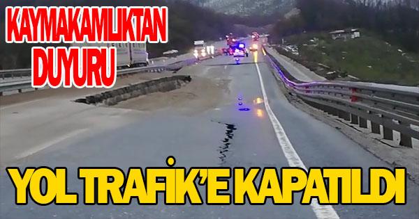 saat 20 itibarıyla yol trafik'e kapatıldı